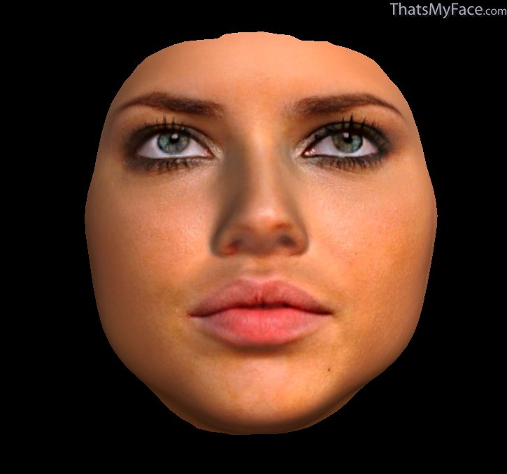 3D Face of Adriana Lima's face from above submitted images